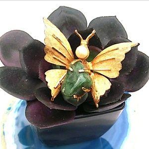 VINTAGE GoldTone Butterfly w Green Onyx Faux Pearl